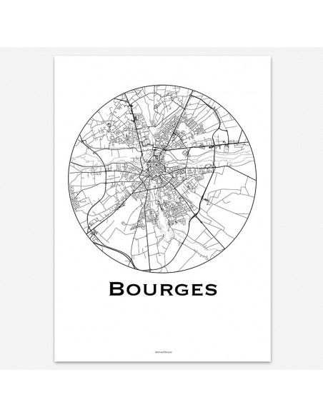 Affiche Poster Bourges France Minimalist Map
