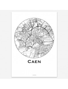 Affiche Poster Caen France Minimalist Map