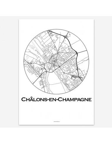 Affiche Poster Châlons-en-Champagne France Minimalist Map