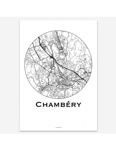 Affiche Poster Chambéry France Minimalist Map