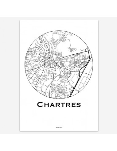 Affiche Poster Chartres France Minimalist Map