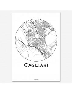 Affiche Poster Cagliari Italie Minimalist Map