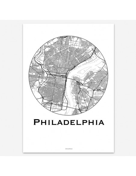 Poster Philadelphia USA Minimalist Map