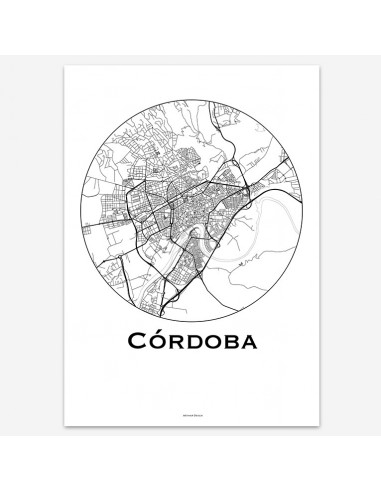 Affiche Poster Cordoue Espagne Minimalist Map