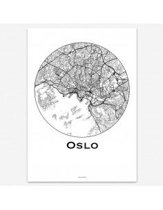 Affiche Poster Oslo Norvège Minimalist Map