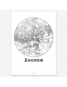 Affiche Poster Zagreb Croatie Minimalist Map