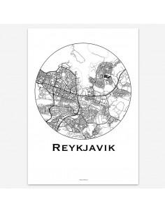 Affiche Poster Reykjavik Islande Minimalist Map