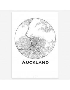 Affiche Poster Auckland Nouvelle-Zélande Minimalist Map