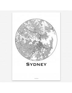 Affiche Poster Sydney Australie Minimalist Map