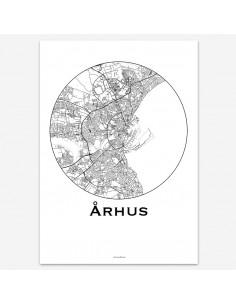 Affiche Poster Aarhus Danemark Minimalist Map