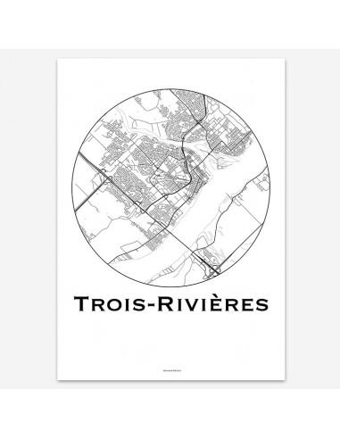 Affiche Poster Trois-Rivières Québec Minimalist Map