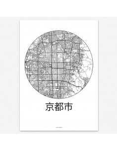 Affiche Poster Kyoto Japon Minimalist Map