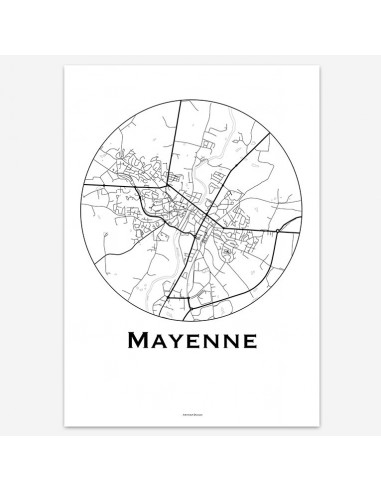 Affiche Poster Mayenne France Minimalist Map