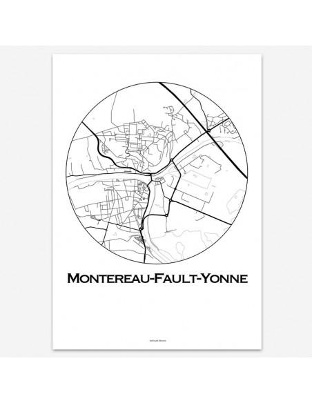 Affiche Poster Montereau-Fault-Yonne France Minimalist Map