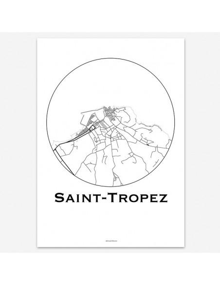 Affiche Poster Saint-Tropez France Minimalist Map