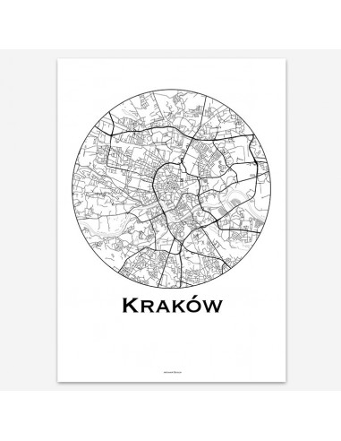 Affiche Poster Cracovie Pologne Minimalist Map