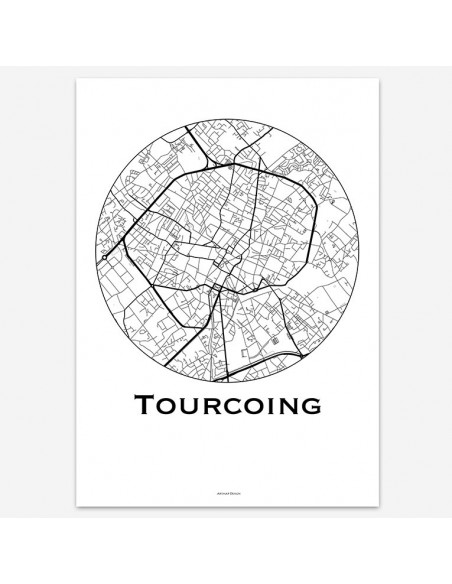 Affiche Poster Tourcoing France Minimalist Map