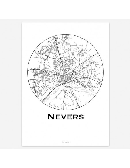 Affiche Poster Nevers France Minimalist Map