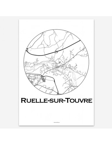 Affiche Poster Ruelle-sur-Touvre France Minimalist Map