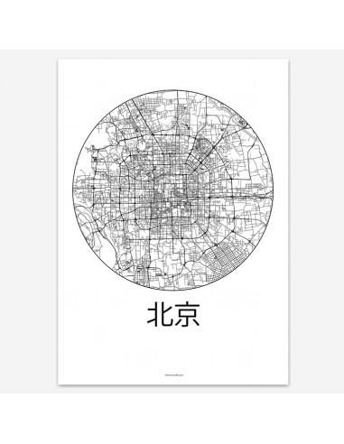 Affiche Poster Pékin Chine Minimalist Map