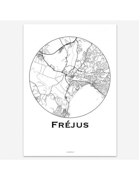 Affiche Poster Fréjus France Minimalist Map