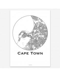 Affiche Poster Le Cap Afrique du Sud Minimalist Map