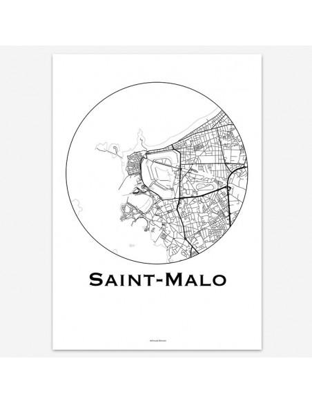 Affiche Poster Saint-Malo France Minimalist Map