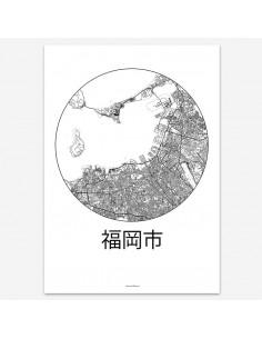 Affiche Poster Fukuoka Japon Minimalist Map