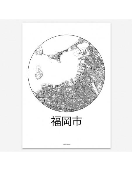 Poster Fukuoka Japan Minimalist Map