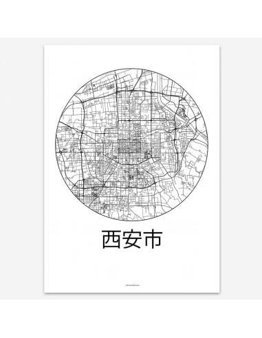 Affiche Poster Xi'an Chine Minimalist Map