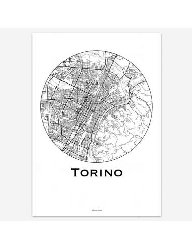 Affiche Poster Turin Italie Minimalist Map