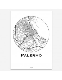 Affiche Poster Palerme Italie Minimalist Map