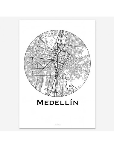 Affiche Poster Medellin Colombie Minimalist Map