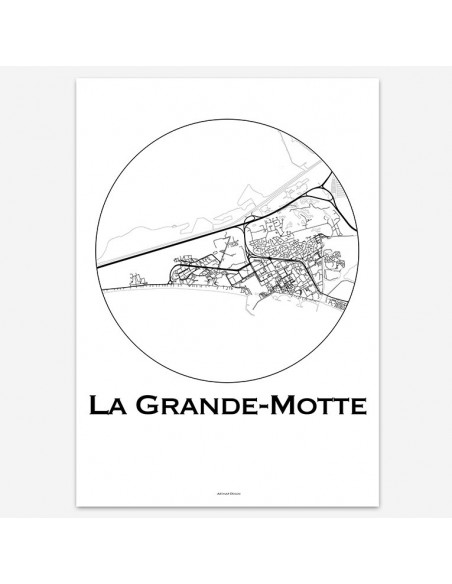 Affiche Poster La Grande-Motte France Minimalist Map