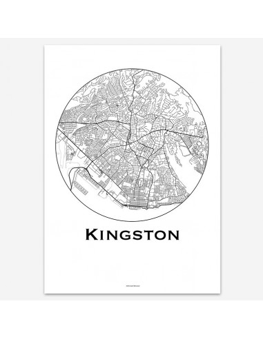Affiche Poster Kingston Jamaïque Minimalist Map