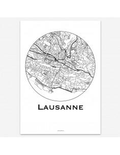 Affiche Poster Lausanne Suisse Minimalist Map