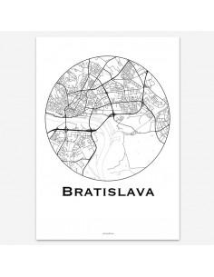 Affiche Poster Bratislava Slovaquie Minimalist Map