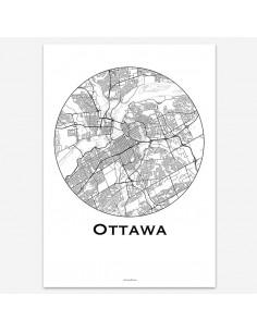 Affiche Poster Ottawa Canada Minimalist Map