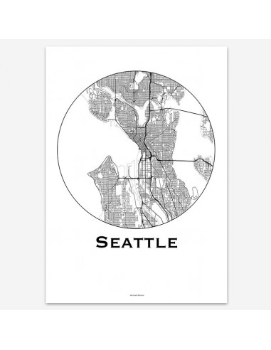 Affiche Poster Seattle USA Minimalist Map