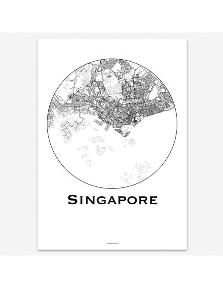 Poster Singapore Minimalist Map