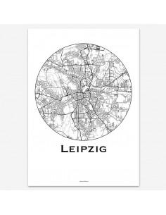 Affiche Poster Leipzig Allemagne Minimalist Map