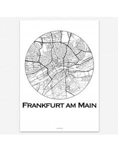 Affiche Poster Francfort Allemagne Minimalist Map