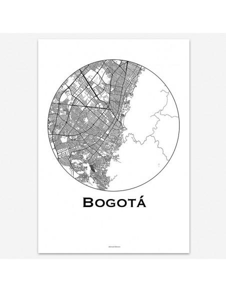 Affiche Poster Bogota Colombie Minimalist Map