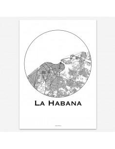 Affiche Poster La Havane Cuba Minimalist Map
