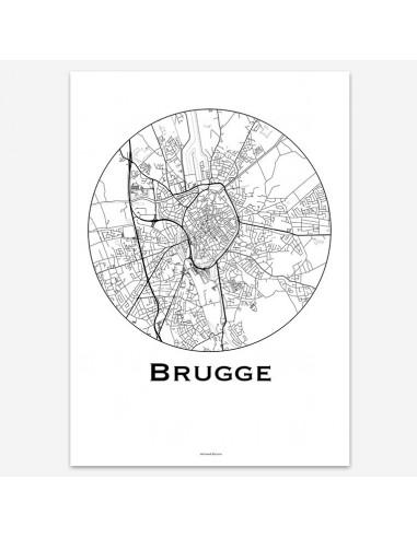 Affiche Poster Bruges Belgique Minimalist Map