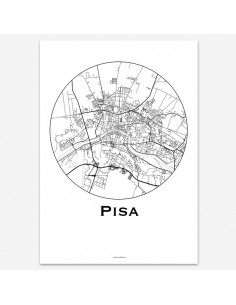 Affiche Poster Pise Italie Minimalist Map