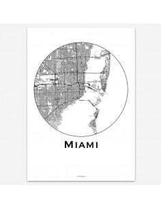 Affiche Poster Miami USA Minimalist Map