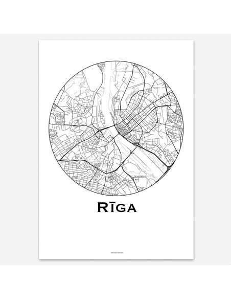 Affiche Poster Riga Lettonie Minimalist Map