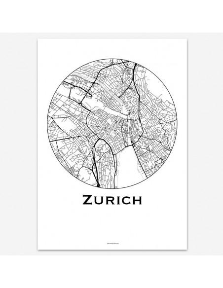 Affiche Poster Zurich Suisse Minimalist Map