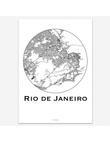 Poster Rio de Janeiro Brazil Minimalist Map